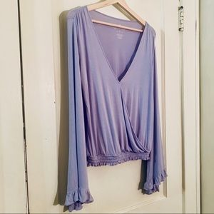 AEO | Soft & Sexy Lilac Surplice Bell-Sleeve Top